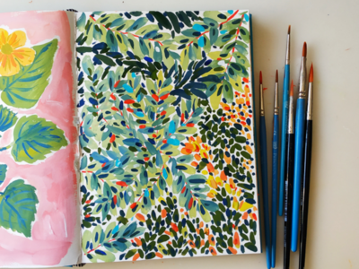 Lush trees nature leaves hand drawn gouache art painting drawing illustration