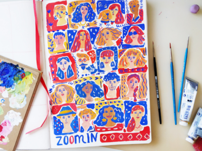 Zoom in people portrait faces lettering hand drawn gouache art painting drawing illustration
