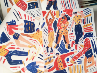 Work in progress - Dance poster dancing people gouache art painting hand drawn drawing illustration