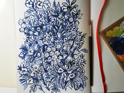 Garden studies black and white flowers girl garden brush hand drawn gouache painting art drawing illustration