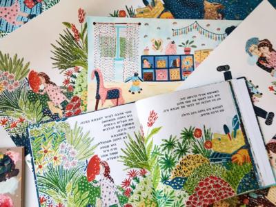 Book spread character design book garden girl kids childrens book gouache art drawing illustration