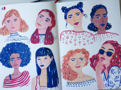Drawing ladies practice girl woman portrait hand drawn gouache painting art drawing illustration