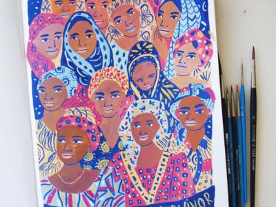 Brave, Strong, Survivor design woman portrait gouache hand drawn painting art drawing illustration