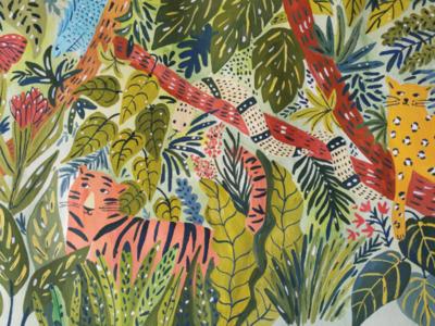 Camouflage animals children book green bush jungle hand drawn gouache painting art drawing illustration