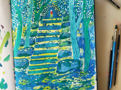 Going up the stairs blue trees nature hand drawn gouache painting art drawing illustration