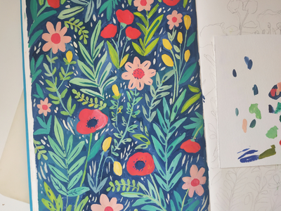 Poppy field (wip) botanical repeat pattern nature flowers hand drawn gouache painting art drawing illustration