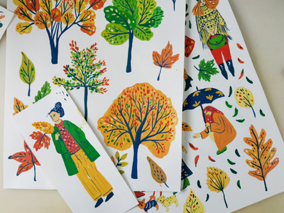 Colors of autumn characters people nature tree leaves autumn dogs hand drawn gouache painting art drawing illustration