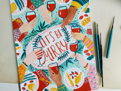 Let's be Merry celebration people merry christmas greeting card gouache hand drawn art drawing illustration