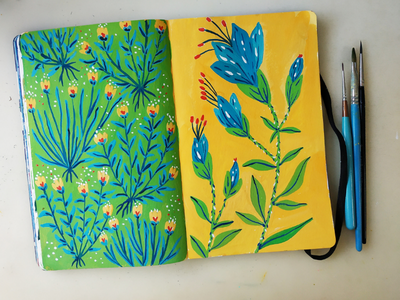 Sketchbook practice repeat botanical pattern floral flower art hand drawn painting drawing illustration