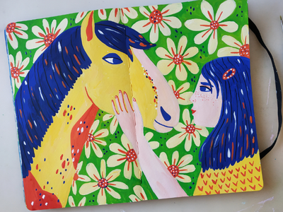 Girl with horse hand drawn children book character design girl woman horse gouache sketchbook painting art drawing illustration
