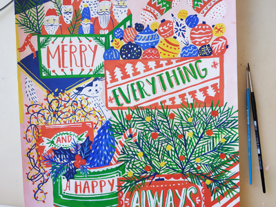 Merry everything winter christmas xmas hand drawn gouache art painting drawing illustration