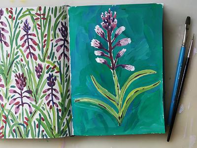 Purple flower nature botanical floral flower sketchbook gouache painting illustration drawing