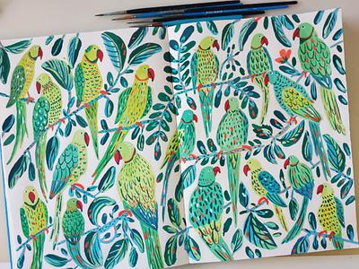 Green Parrots green tree nature parrots parrot bird birds sketchbook hand drawn gouache painting art drawing illustration