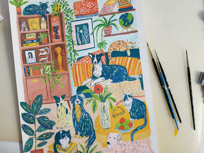 Slumber party slumber party room home house cats cat dog dogs hand drawn painting gouache art drawing illustration