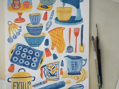 Baking Tools food kitchen baking bakery baker painting art gouache hand drawn drawing illustration