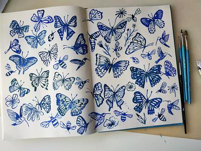 Blue Butterflies butterflies butterfly nature painting flowers art gouache hand drawn drawing illustration