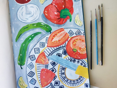 Tomato Salad food pepper salad tomato still life kitchen painting art gouache hand drawn drawing illustration