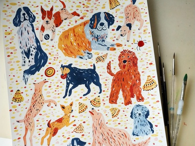 Dogs on beach beach summer dogs dog nature painting art gouache hand drawn drawing illustration
