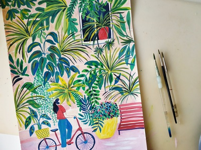 Plant Power energy plants nature painting art gouache hand drawn drawing illustration