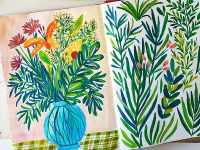 Flowers in Vase bouquet sketchbook vase botanical floral nature painting flowers art gouache hand drawn drawing illustration