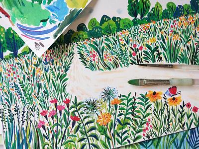 Work in progress - Children's Book summer childrens illustration children book kids illustration nature painting flowers art gouache hand drawn drawing illustration
