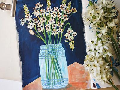 White Flowers vase botanical illustration floral nature painting flowers art gouache hand drawn drawing illustration