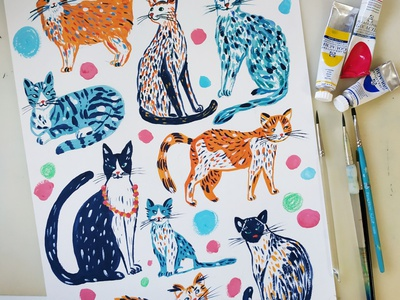 Happy Cats pets animals cats cat painting art gouache hand drawn drawing illustration