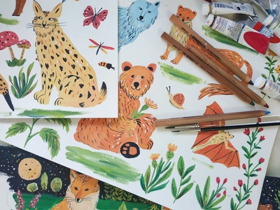Animals - Children's Book In Progress children book illustration childrens book animals nature painting art gouache hand drawn drawing illustration