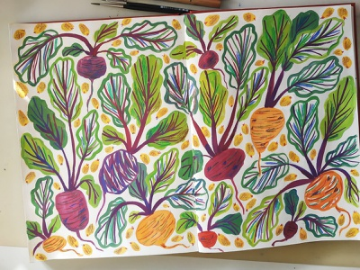 Beets beet vegetable illustration pattern vegetables nature painting art gouache hand drawn drawing illustration