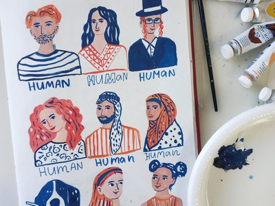 Sketch - we are all humans diversity sketchbook people painting art gouache hand drawn drawing illustration
