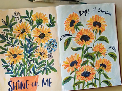 Sunflowers sunflowers nature painting flowers art gouache hand drawn drawing illustration