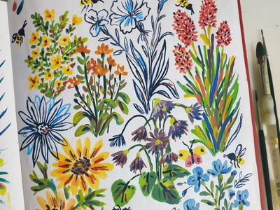 Flowers in sketchbook sketchbook nature painting flowers art gouache hand drawn drawing illustration