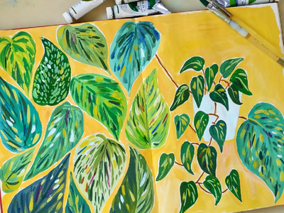 Shades of greens study pattern sketchbook plants painting art gouache hand drawn drawing illustration