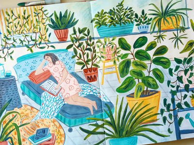 Weekend Plans woman sketchbook plants art gouache hand drawn drawing illustration painting
