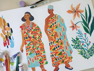 Ghana Wedding people diversity wedding painting art gouache hand drawn drawing illustration
