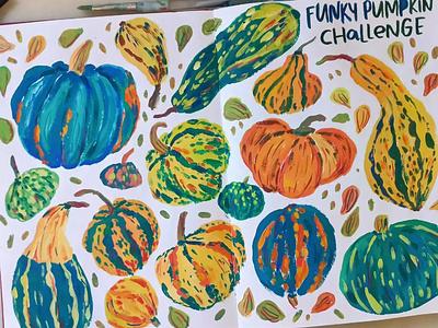 Pumpkins autumn pumpkin sketchbook painting art gouache hand drawn drawing illustration