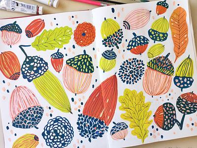 Acorns repeat pattern autumn fall acorns painting art gouache hand drawn drawing illustration