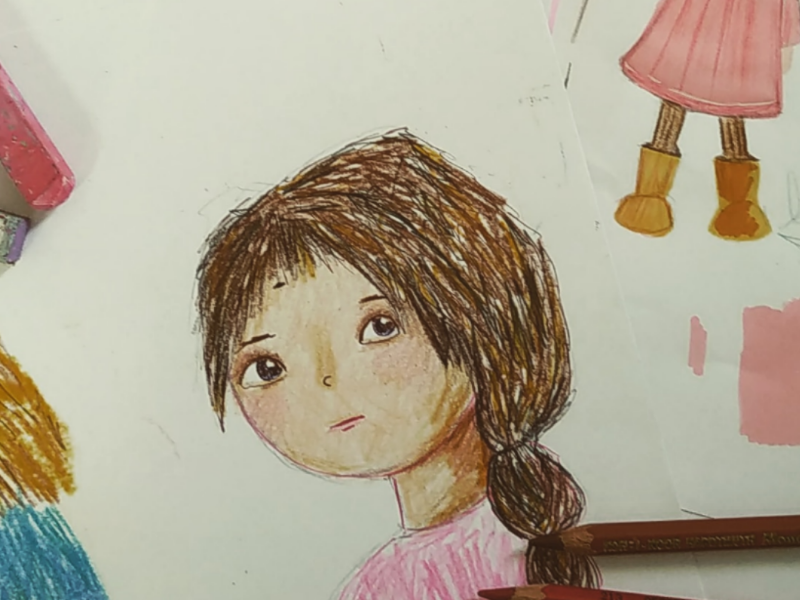 Character sketch colored pencils character design children book drawing illustration