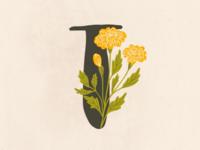 Floral alphabet - T