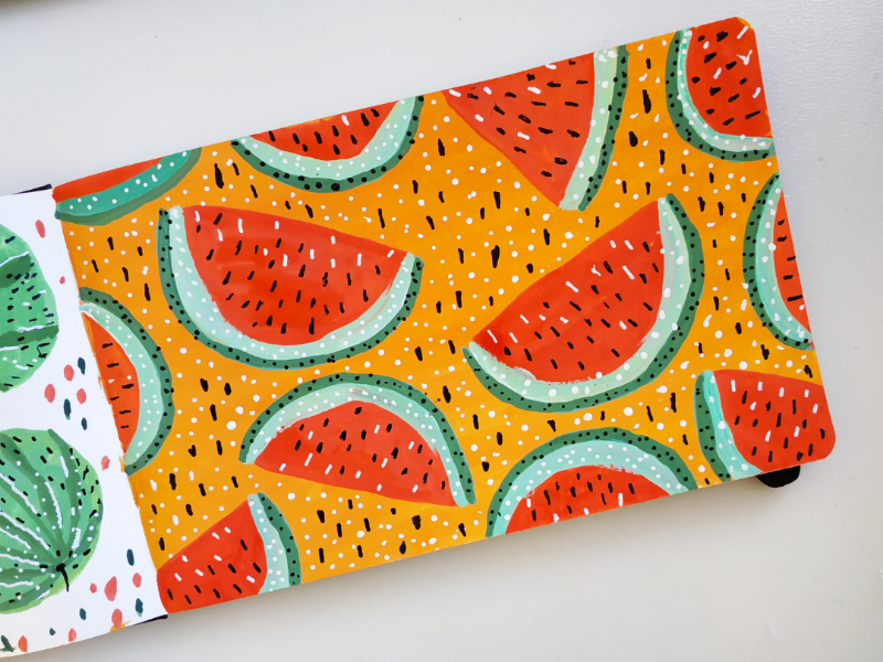 Watermelon pattern summer fruits watermelon gouache art drawing hand drawn illustration