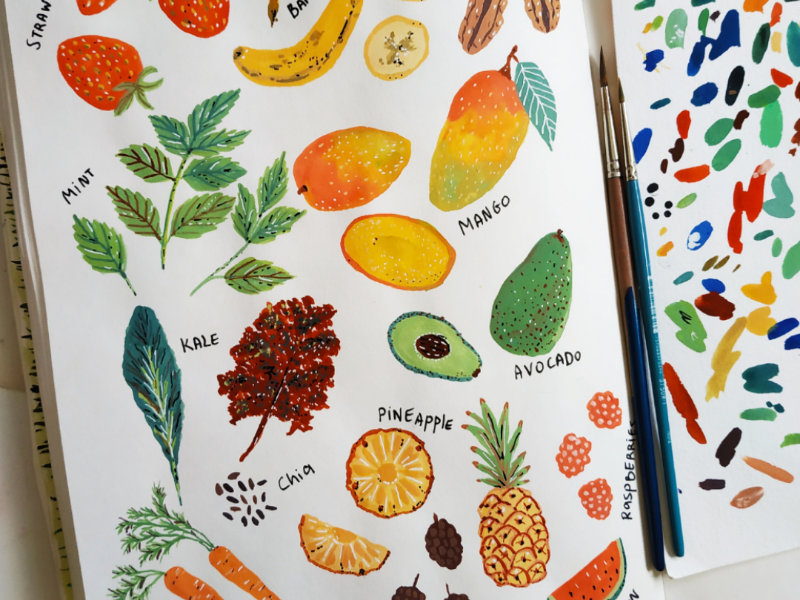 Fruits and Vegies healthy food gouache hand drawn art vegetables fruits nature drawing illustration