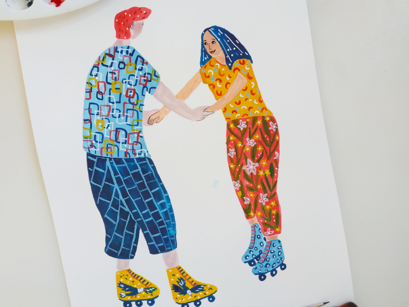 Support each other flowers skates character design happy couple hand drawn gouache art drawing illustration