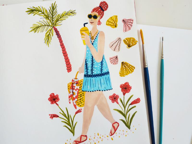 Summer girl girl woman beach character design summer drawing gouache hand drawn illustration