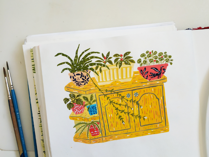 Plants home flowers plants gouache hand drawn drawing illustration