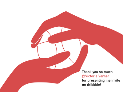 Thank you vector design ai illustration art arms ball thanks gratitude dribbble invite dribbble thank you invite