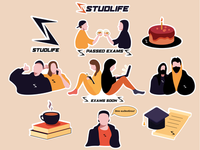 Sticker pack for StudlifeCrew books book stickerpack student project study student students illustrator vector design sticker design stickers sticker art