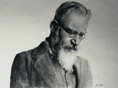 Bernard Shaw pencil art glasses artwork black  white traditional traditional art art portrait pencil drawing drawing academic writer bernard