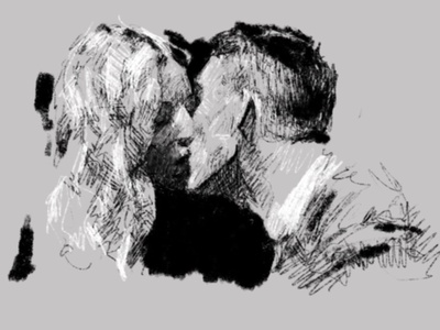 Grace and Tommy black  white black couple sketch procreate kiss love art peakyblinders