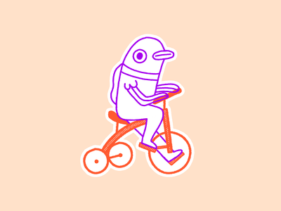 Fishy Tricycle stickermule illustration bike tricycle fish character