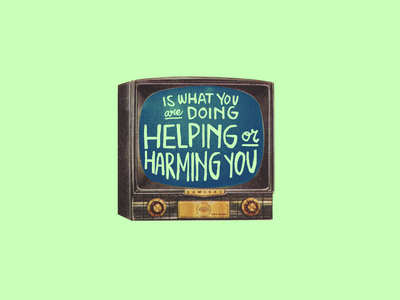Aspiracional TV mental health phrase letters handraw illustration aspiracional tv quote collage lettering